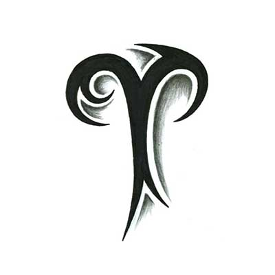 Black Triba Aries Symbol Tattoo Stencil Fake Temporary Water Transfer Tattoo Stickers NO.10025