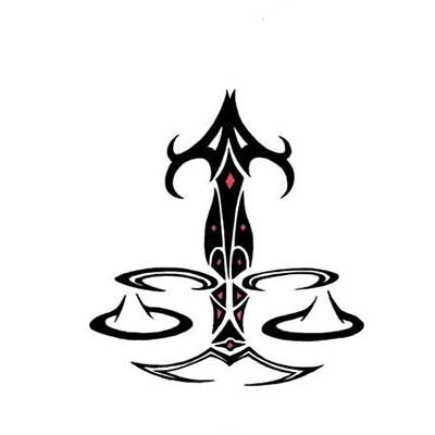 Black And Red Tribal Libra Zodiac Sign Design Fake Temporary Water Transfer Tattoo Stickers NO.10103