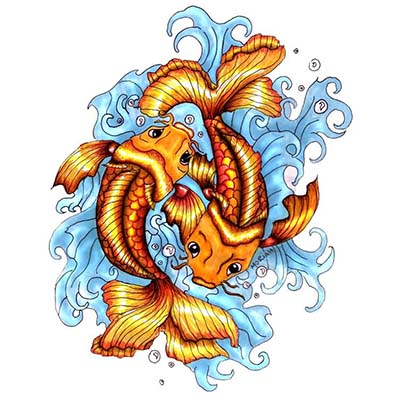 Koi Fish Pisces Design Fake Temporary Water Transfer Tattoo Stickers NO.10118