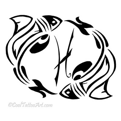 Pisces designs Fake Temporary Water Transfer Tattoo Stickers NO.10131