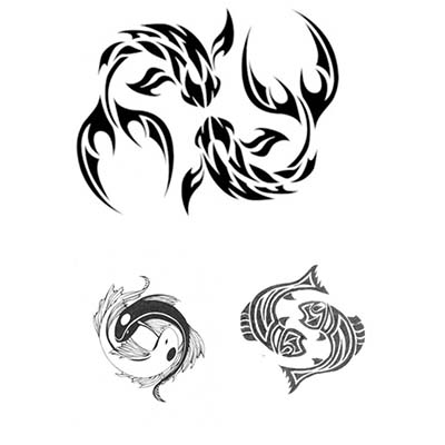 Triba Pisces Tattoos Designs Idea Fake Temporary Water Transfer Tattoo Stickers NO.10124