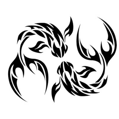 Tribal Pisces Designs Fake Temporary Water Transfer Tattoo Stickers NO.10123