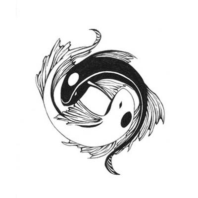 Yin yang new zodiac pisces tattoo design Fake Temporary Water Transfer Tattoo Stickers NO.10125