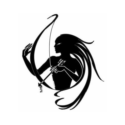 Woman holding arrow tribal Sagittarius designs Fake Temporary Water Transfer Tattoo Stickers NO.10143