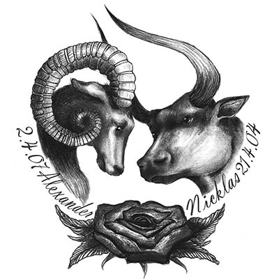 Design aries and taurus Fake Temporary Water Transfer Tattoo Stickers NO.10179