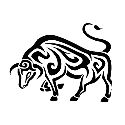 Tribal cool running bull taurus design Fake Temporary Water Transfer Tattoo Stickers NO.10184
