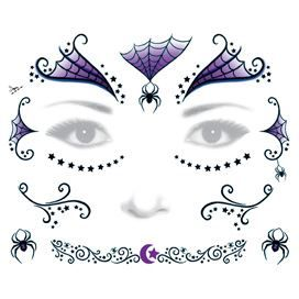 Adult Witch Face Costume Design Water Transfer Temporary Tattoo(fake Tattoo) Stickers NO.13214