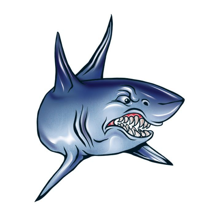 Angry Shark Design Water Transfer Temporary Tattoo(fake Tattoo) Stickers NO.13503