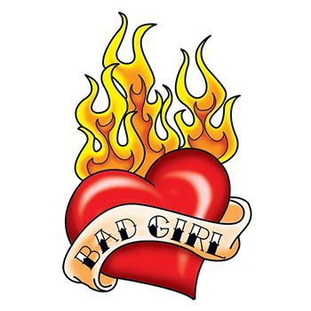 Bad Girl Flaming Heart Design Water Transfer Temporary Tattoo(fake Tattoo) Stickers NO.13218