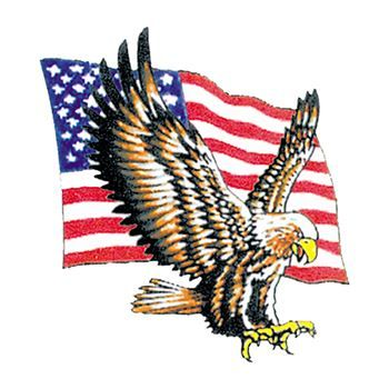 Bald Eagle with Flag Design Water Transfer Temporary Tattoo(fake Tattoo) Stickers NO.12034
