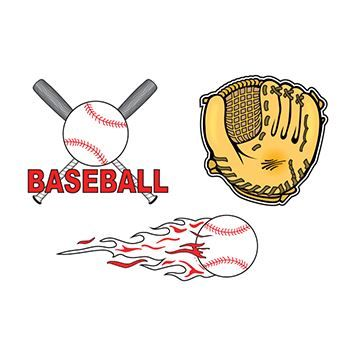 Baseball Set ofs Design Water Transfer Temporary Tattoo(fake Tattoo) Stickers NO.13854