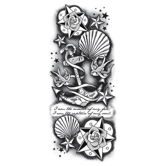 Black and White Anchor Sleeve Design Water Transfer Temporary Tattoo(fake Tattoo) Stickers NO.12660