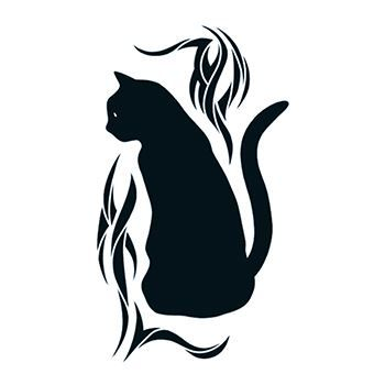 Black Cat with Tribal Design Design Water Transfer Temporary Tattoo(fake Tattoo) Stickers NO.13514