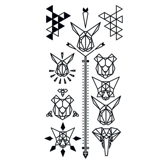 Black Geometric Animal Design Water Transfer Temporary Tattoo(fake Tattoo) Stickers NO.13632