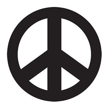 Black Peace Sign Design Water Transfer Temporary Tattoo(fake Tattoo) Stickers NO.13232