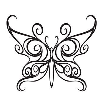 Black Tribal Butterfly Design Water Transfer Temporary Tattoo(fake Tattoo) Stickers NO.13742