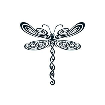 Black Tribal Dragonfly Design Water Transfer Temporary Tattoo(fake Tattoo) Stickers NO.13517