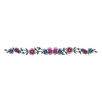 Blue and Purple Flowers Design Water Transfer Temporary Tattoo(fake Tattoo) Stickers NO.12298