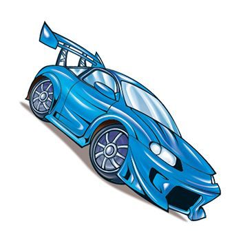 Blue Race Car Design Water Transfer Temporary Tattoo(fake Tattoo) Stickers NO.13860