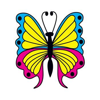 Blue, Yellow & Pink Butterfly Design Water Transfer Temporary Tattoo(fake Tattoo) Stickers NO.11794