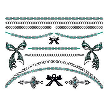 Bold in Bows: Bluestone Jewelry Set Design Water Transfer Temporary Tattoo(fake Tattoo) Stickers NO.13192