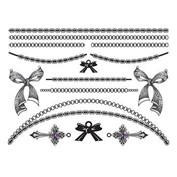 Bold in Bows Jewelry Set Design Water Transfer Temporary Tattoo(fake Tattoo) Stickers NO.13189