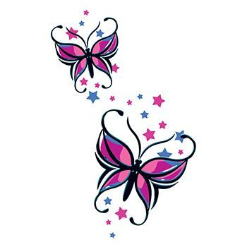 Butterflies and Stars Design Water Transfer Temporary Tattoo(fake Tattoo) Stickers NO.13734