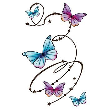 Butterfly Swirls Large Design Water Transfer Temporary Tattoo(fake Tattoo) Stickers NO.13746