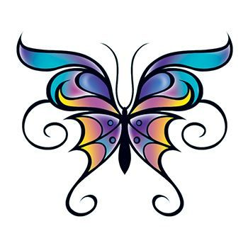 Butterfly with Swirls Design Water Transfer Temporary Tattoo(fake Tattoo) Stickers NO.13752