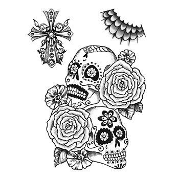 Calaveras Sugar Skull Design Water Transfer Temporary Tattoo(fake Tattoo) Stickers NO.13240