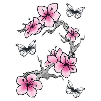 Cherry Blossoms and Butterflies Design Water Transfer Temporary Tattoo(fake Tattoo) Stickers NO.12643
