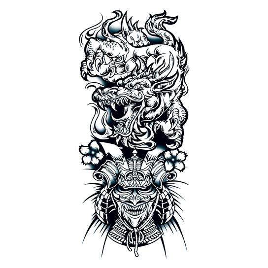 Chinese Dragon and Warrior Design Water Transfer Temporary Tattoo(fake Tattoo) Stickers NO.12132
