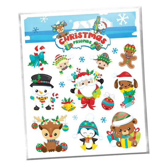 Christmas Friends Holiday Pack Design Water Transfer Temporary Tattoo(fake Tattoo) Stickers NO.12853