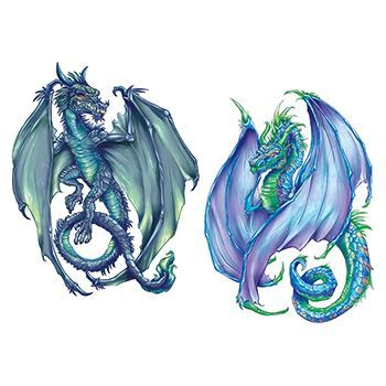 Coatl Dragons Design Water Transfer Temporary Tattoo(fake Tattoo) Stickers NO.11997