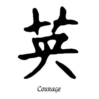 Courage Kanji Design Water Transfer Temporary Tattoo(fake Tattoo) Stickers NO.11884
