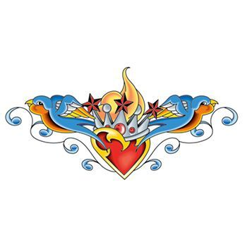Crowned Heart with Sparrows Lower Back Design Water Transfer Temporary Tattoo(fake Tattoo) Stickers NO.12493