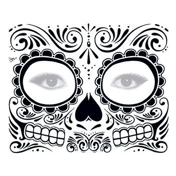 Day of the Dead: Black Skull Face Design Water Transfer Temporary Tattoo(fake Tattoo) Stickers NO.12917
