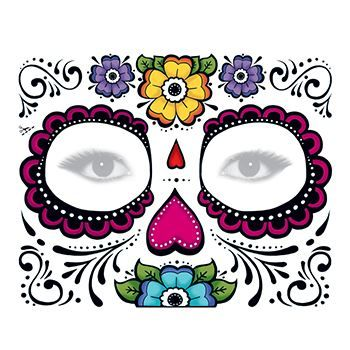 Day of the Dead: Floral Face Design Water Transfer Temporary Tattoo(fake Tattoo) Stickers NO.12915
