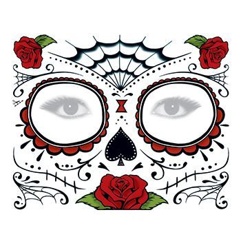 Day of the Dead: Roses Face Design Water Transfer Temporary Tattoo(fake Tattoo) Stickers NO.12913