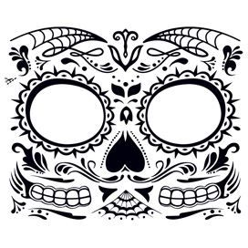 Day of the Dead: Skull Face Design Water Transfer Temporary Tattoo(fake Tattoo) Stickers NO.12924