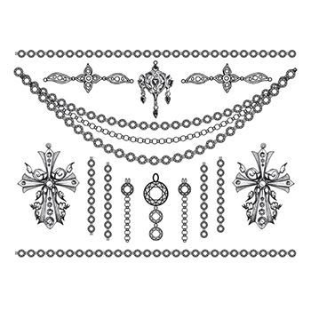 Detailed Crosses Jewelry Set Design Water Transfer Temporary Tattoo(fake Tattoo) Stickers NO.13215