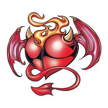 Devil Heart Design Water Transfer Temporary Tattoo(fake Tattoo) Stickers NO.13217