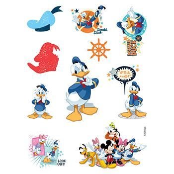 Donald Duck Assortment ofs Design Water Transfer Temporary Tattoo(fake Tattoo) Stickers NO.13861