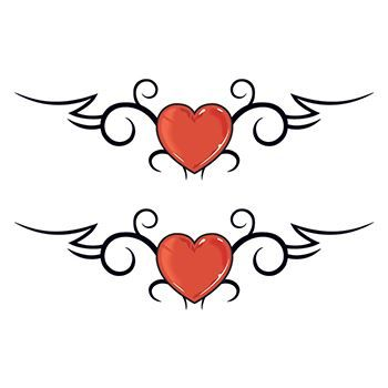 Double Tribal Hearts Design Water Transfer Temporary Tattoo(fake Tattoo) Stickers NO.12143