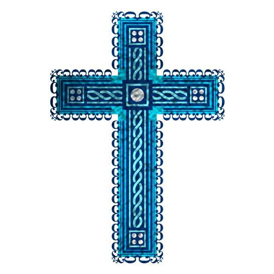 Fancy Blue Cross Design Water Transfer Temporary Tattoo(fake Tattoo) Stickers NO.12934