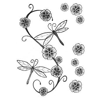 Fashion: Soft Dragonfly and Flowerss Design Water Transfer Temporary Tattoo(fake Tattoo) Stickers NO.12262
