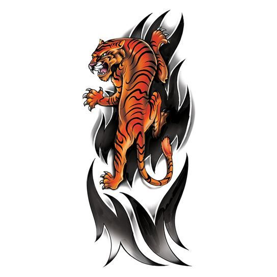 Ferocious Colored Tiger Design Water Transfer Temporary Tattoo(fake Tattoo) Stickers NO.12214