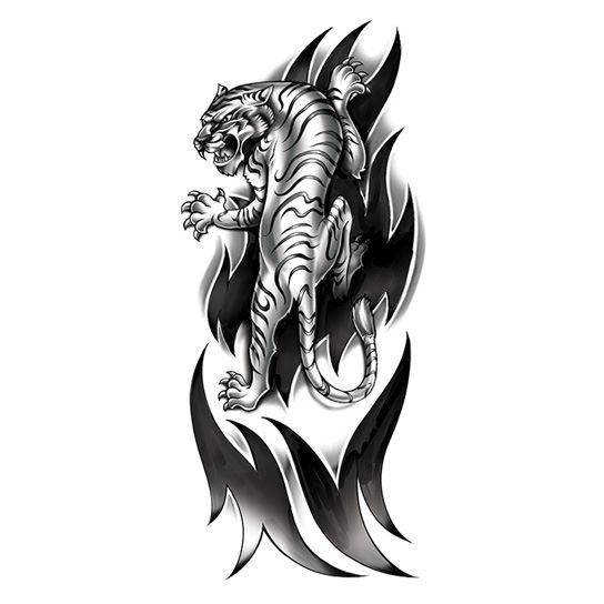 Ferocious Tiger Black & White Design Water Transfer Temporary Tattoo(fake Tattoo) Stickers NO.11861