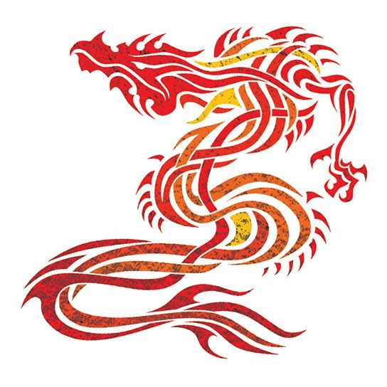 Fiery Dragon Metallic Design Water Transfer Temporary Tattoo(fake Tattoo) Stickers NO.14222