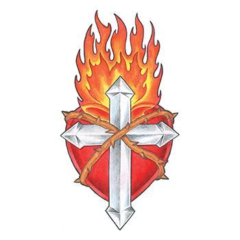 Flaming Cross and Shield Design Water Transfer Temporary Tattoo(fake Tattoo) Stickers NO.12068